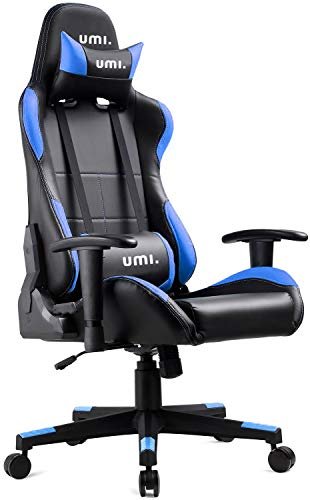 UMI Essentials Gaming Chair Racing Chair Ergonomic Office Chair Fabric Computer Chair Adjustable Height With Headrest and Lumbar Support Blue