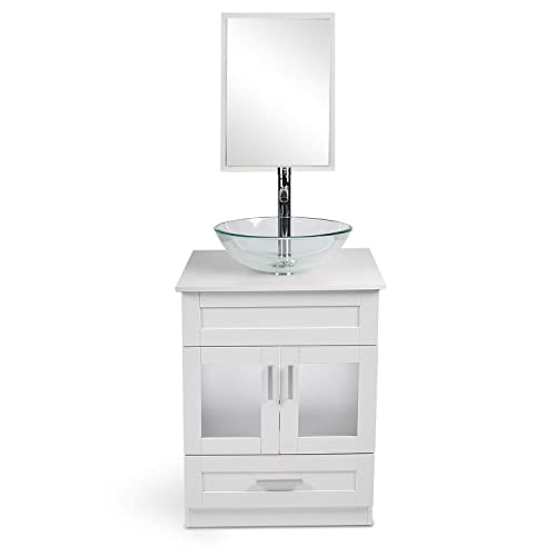 White Cabinet And Glass Vessel Sink, 24 Inch Bathroom Vanity With Top And Sink