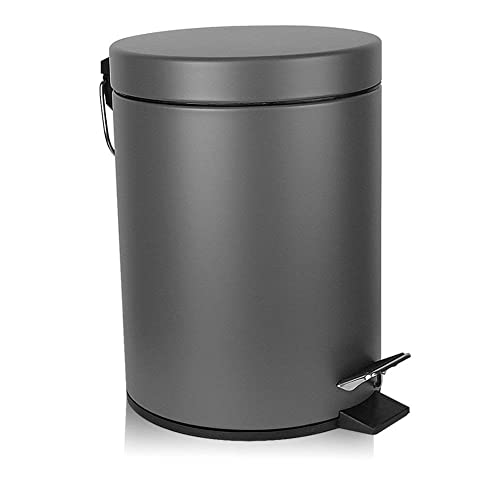 H Lux Bathroom Trash Can Round, Stainless Steel Bathroom Garbage Can