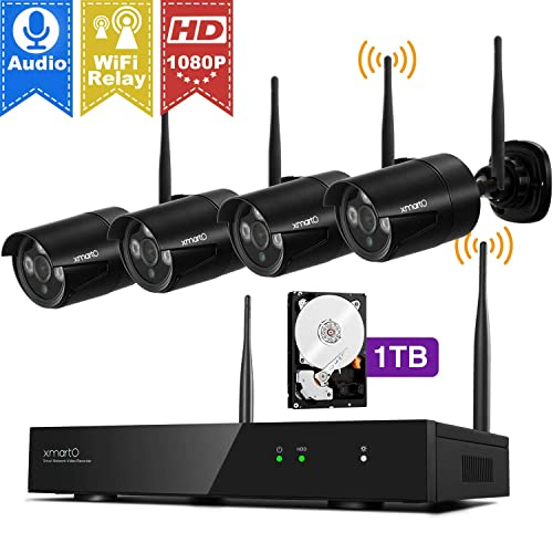 Wireless Security Camera System Outdoor, XMARTO [4-Pack 1080p Audio] WiFi  Security Cameras with 4-Channel H 265+ NVR, Easy Mobile View, Weatherproof,