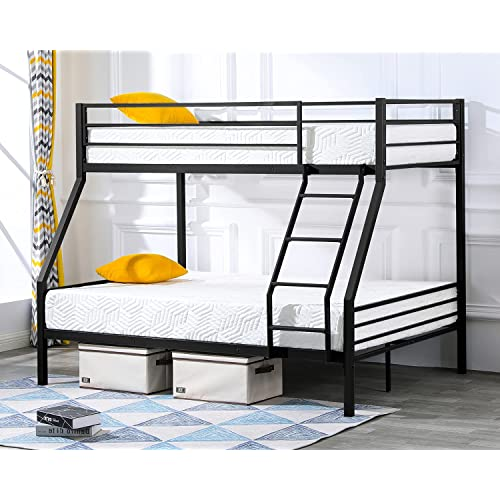 Buy Bonnlo Bunk Bed Twin Over Full Sturdy Metal Bed Frame With Flat Ladder And Guardrail For Adults Children Teens Black Online In Vietnam B081dd9snv
