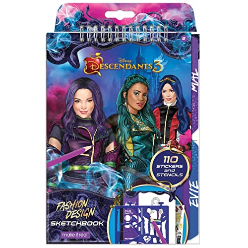 Make It Real Disney Descendants 3 Sketchbook Fashion Design Drawing Coloring Book For Girls Includes Evie Descendants 3 Sketch Pages Stencils Stickers And Design Guide Buy Products Online