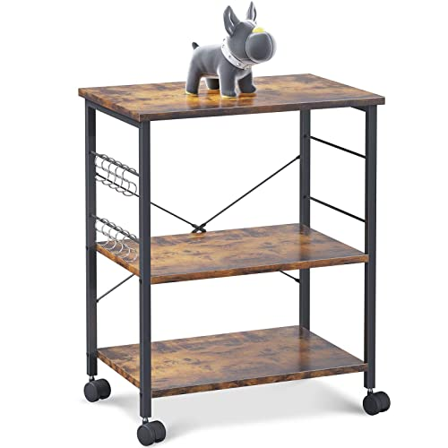 Buy Odk Kitchen Baker S Rack Kitchen Island Utility Storage Shelf Microwave Oven Stand Cart 3 Tier With 10 Removable Hooks Rolling Lockable Caster Rustic Brown Online In Vietnam B08bhxj41n