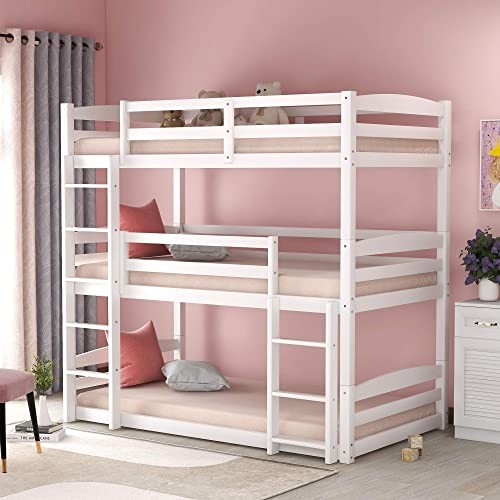 Buy Merax Solid Wood Twin Bunk Triple Bed With Ladder For Kids And Teens Separable No Box Spring Needed White Online In Vietnam B08zxz1zlg