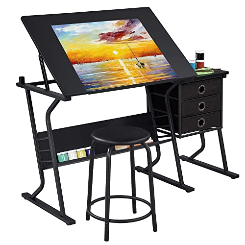Buy Yaheetech Adjustable Drafting Table Drawing Draft Art Craft Desk With Stool And Storage Drawers Art Studio Design Sketching Painting Work Station Online In Vietnam B08p2xq8z5