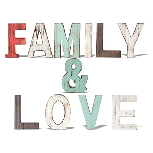 Buy Meant2tobe Rustic Wood Family Love Signs Home Décor Freestanding Wooden Letters Cutouts For Home Décor Multi Color Wooden Signs Decorative Word Signs Multicolor Table Decor Centerpiece Online In Vietnam B082twtztp
