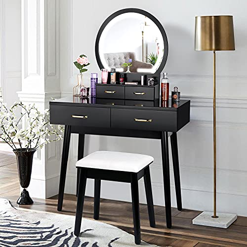 Vanity Table Makeup With Lights, Black Vanity Set With Lighted Mirror And Stool
