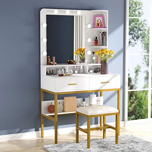 Tribesigns Vanity Table Set With, Vanity Dressing Table With Light Up Mirror