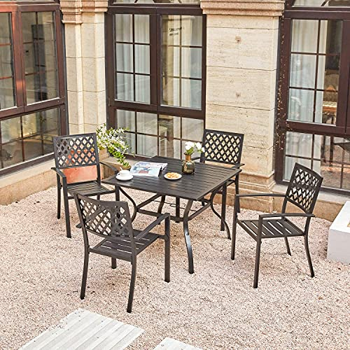 Vicllax Patio Dining Set 5 Piece, Outdoor Patio Dining Table With Umbrella Hole