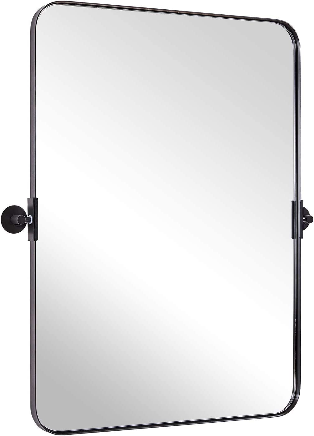 Buy Moon Mirror 22 X 30 Matte Black Pivot Mirror For Bathroom Metal Frame Bathroom Mirrors For Wall Rectangle Titling Vanity Wall Mirror With Rounded Corner Design Hangs Vertical Online In Vietnam B096tvnly3