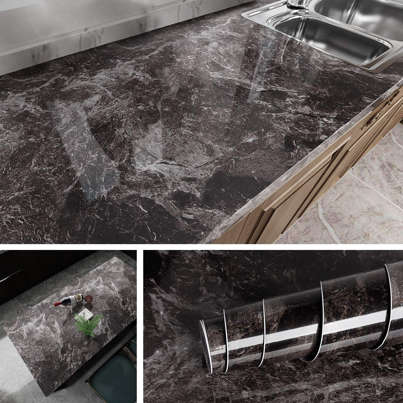 Livelynine Dark Marble Wall Paper for Counter Top Covers Peel and Stick  Wallpaper Decorative Adhesive Marble Paper for Countertops Sink Table Desk  ...
