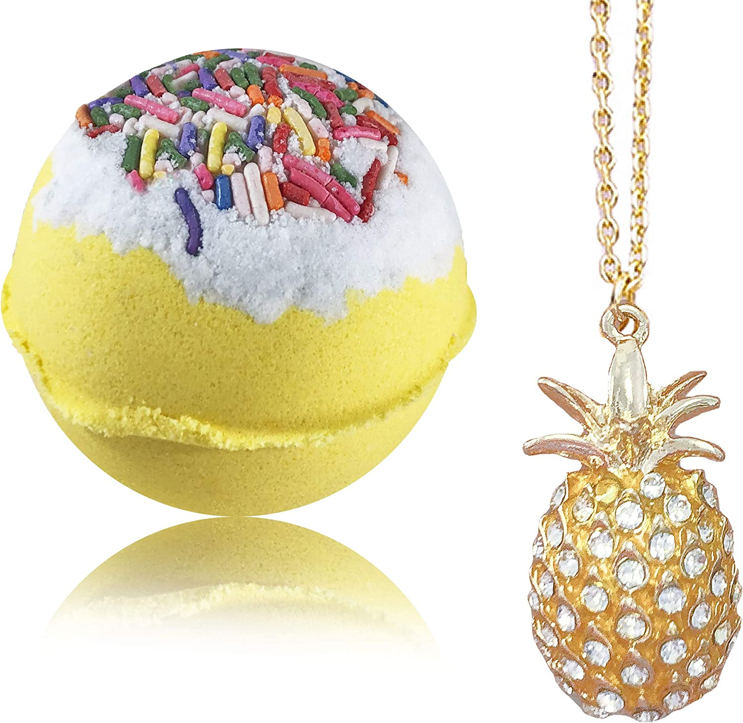 Bath Bombs Jewelry with Necklace Pineapple Inside   Perfect Treasure Hidden  in Huge Bath Bomb   Fizzy and Bubble Organic Bathbomb in Gift Box for