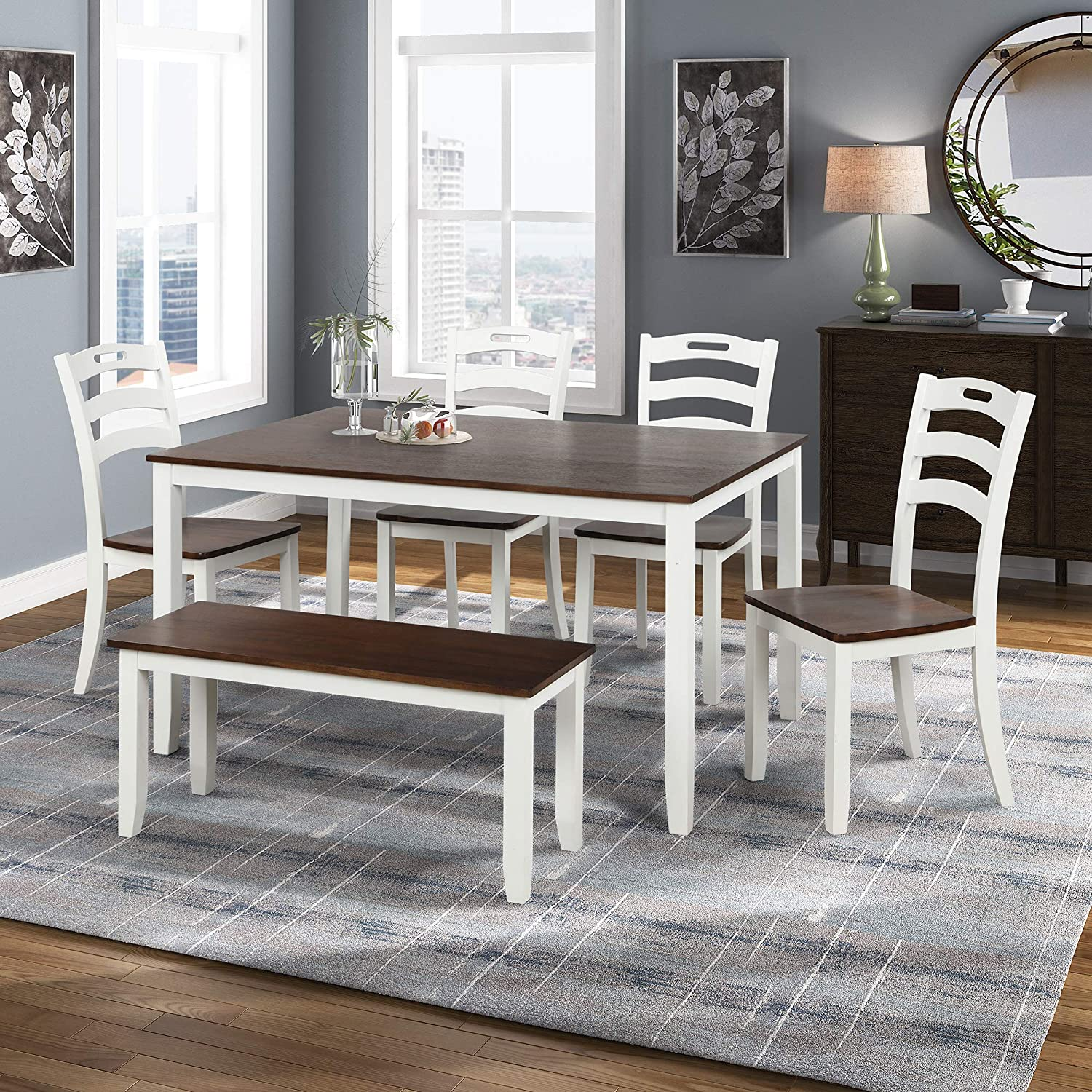 Buy Merax Dining Table Sets, 9 Piece Wood Kitchen Table Set, Home ...