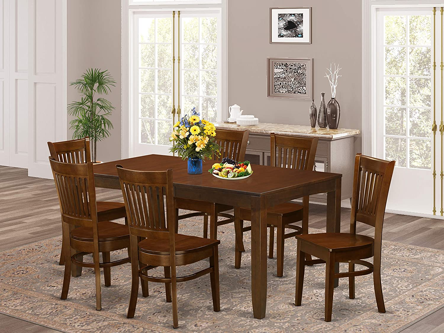 12 Leaf And 6 Wood Chairs In Espresso, 12 Seat Dining Room Table Sets